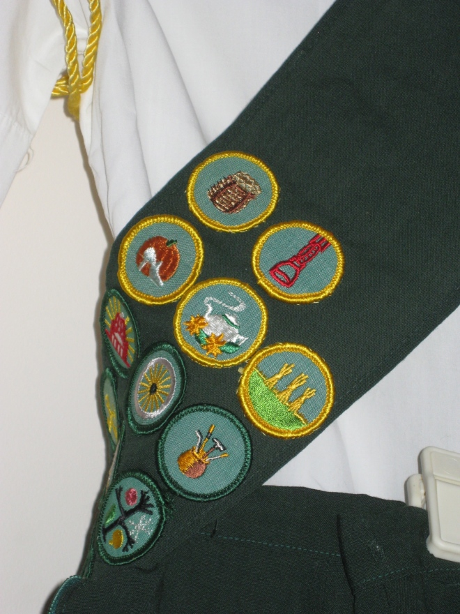 The new yellow-bordered Cadette badges were sewn on sashes  beneath the Junior/Intermediate badges.