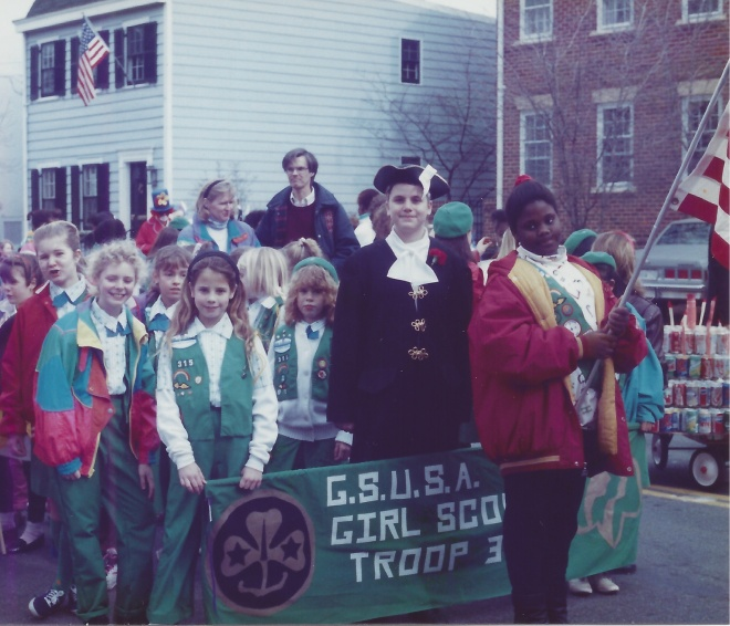 Arlington, VA, Troop 315 readies for the 1990 Old Town Alexandria George Washington's Birthday Parade.