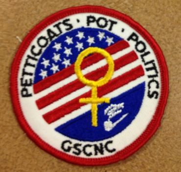 "Patch from 1972 Wider Opportunity, ""Petticoats, Pot, and Politics"""