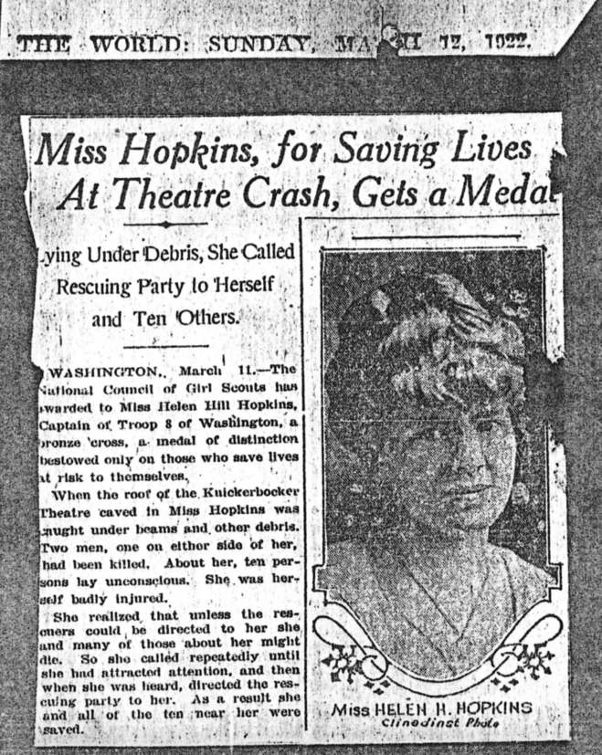 Helen Hopkins Zelov, a co-leader in Lou Henry Hoover's Troop 8, helped rescuers locate survivors of the Knickerbocker Theatre disaster.