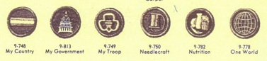 Several of the problematic 1953 badges