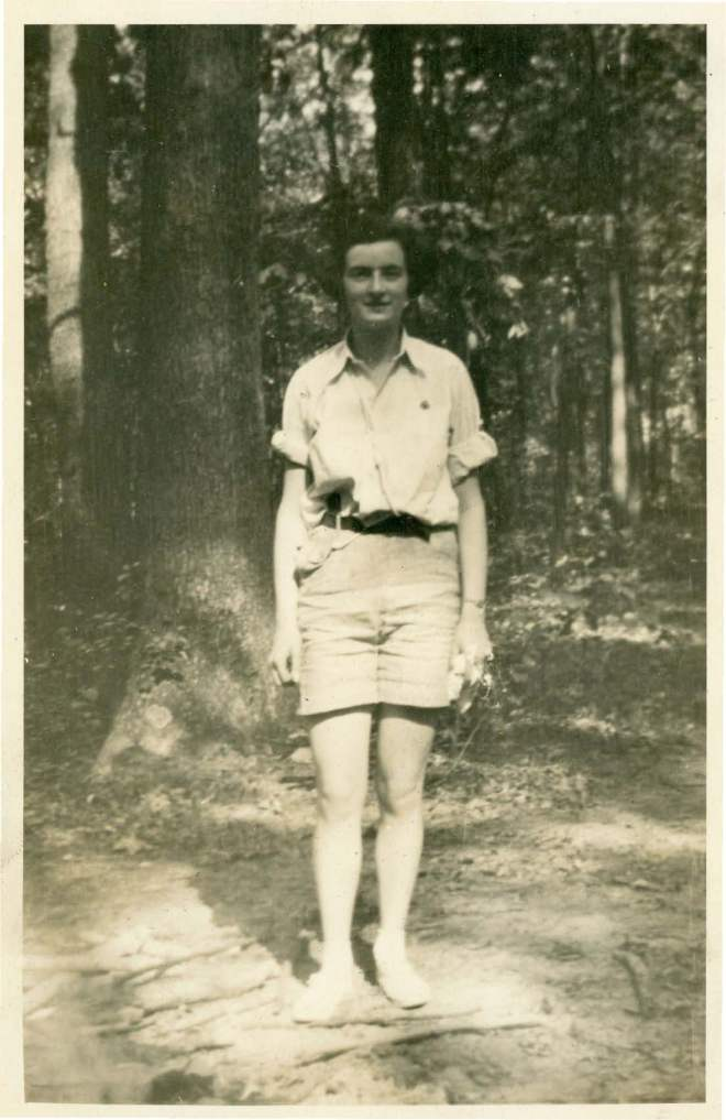Françoise pauses for a photo while working at Camp May Flather.