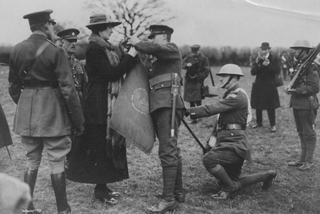 Princess Patricia presents a wreath to the troops.