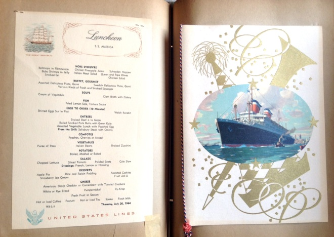 An elegant luncheon served aboard the Queen Mary on July 30, 1964