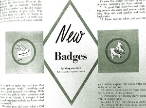 Hall previewed new badges in the May 1953 Leader magazine.