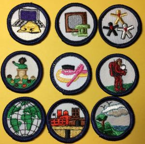 "Nine ""handbook badges"" introduced in 1986."