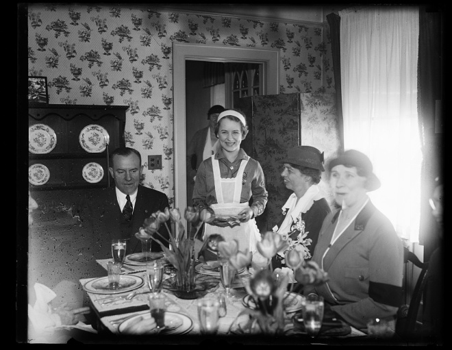 Eleanor Roosevelt (second from right) enjoys a