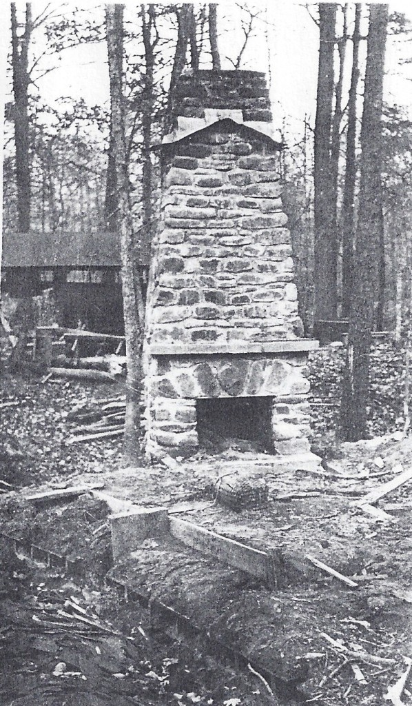 The Boone troop house chimney survived the flood.