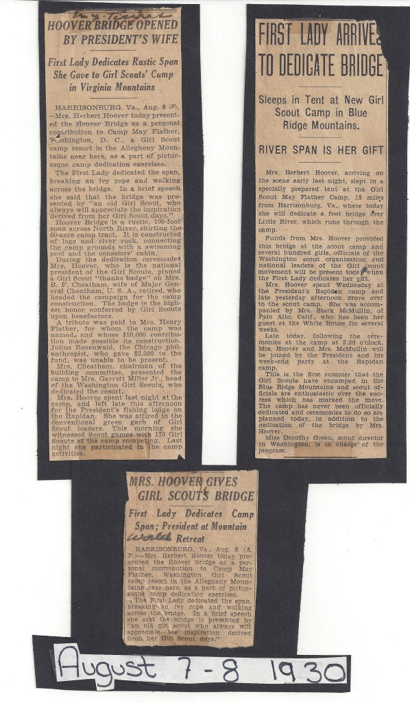 Clippings from scrapbook of 1930 Camp May Flather staff (GSCNC Archives)