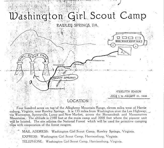 Brochure for Rawley Springs camp (GSCNC Archives)